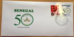 Sénégal 2013 FDC 1er Jour Jubilé D´or 50 Abbaye De Keur Moussa Abbey Coeur Immaculé Church Religion Kirche Eglise 2 Val. - Senegal (1960-...)