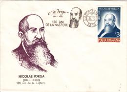 NICOLAE IORGA, WRITER, SPECIAL COVER, 1991, ROMANIA - Escritores