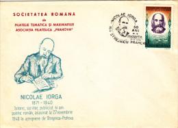 NICOLAE IORGA, WRITER, SPECIAL COVER, 1990, ROMANIA - Escritores