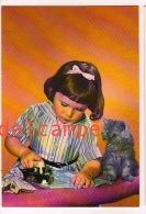 LITTLE GIRL - MAEDCHEN - CAT - Ironing - Fillette Repassage Et Petit Chat - Carte Vierge - Circa 60 - Scenes & Landscapes