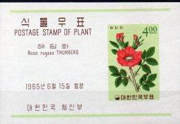 Pflanzen 1965 Korea Block 208 ** 4€ Kartoffel-Rose Foglietto Bf Rosa Rugosa M/s Flora Bloc Nature Sheet Of South-Corea - Korea, South