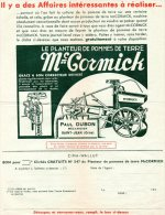 - FACTURE - 61 - Paul DUBON à SAINT-JEAN ( Orne ) - Mc Cormick - 019 - Agriculture