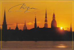 Latvia Riga At Sunset