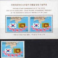 Präsident Sri Lanka 1984 Korea 1371+ Block 487 ** 3€ Staatsbesuch Flaggen Blocchi Bf Flag M/s Bloc Sheet Of South Coree - Korea, South