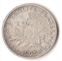 FRANCE 1 FRANC  1905  ARGENT - Francia