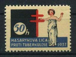 1937 Czech Red Cross TUBERCULOSIS Christmas Seals - Masarykova Liga Proti Tuberkuloze, RARE, MNH (**) - Disease