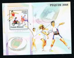 TENNIS - Guinea-Bissau - 2004 - Mini Sheet Beijing 2008 Tennis In The Margin **