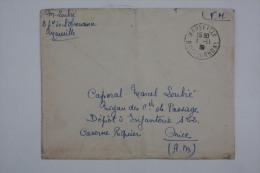 Enveloppe 1939 Marseille --> Nice Depot D'Infanteire 152 En FM - Lettres & Documents