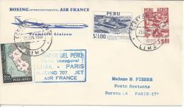 PEROU - 1960 -  PREMIERE LIAISON INAUGURALE LIMA-PARIS , PAR BOEING 707 , AIR FRANCE - - Peru