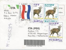 Ethiopia Addis Ababa 2002 Flag Bushbuck Antilope Barcoded Registered Cover - Ethiopië