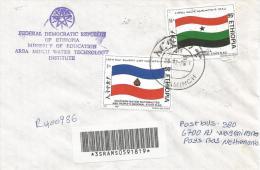 Ethiopia 2001 Arbaminch Flag Barcoded Registered Cover - Ethiopië