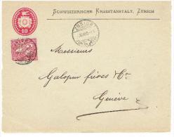 1880 .QUE LE DEVANT DE LA LETTRE .TIMBRE PERFORE .ZÜRICH Pour GENEVE. - Briefe U. Dokumente