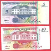 Surinam -  5 Gulden & 10 Gulden - UNC - 1998 / Papier Monnaie - Billet - Suriname - Surinam