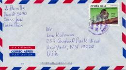 Costa Rica 1993 Cover To USA With UPAEP America 1992 Stamp 35 Cent. Bird Pinaroloxias Inornata - Passereaux