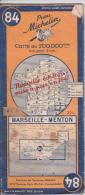 MICHELIN N° 84 - Marseille Menton - Année 1944 - Carte Stradali