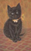 Belle CPA Illustré CHATS CHAT  Elégant CHATON NOIR Aux Yeux BLEUS - Katten