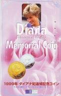 Télécarte JAPON * PRINCESS DIANA (170) LADY DI * Phonecard Japan * MEMORIAL  COIN - Personnages