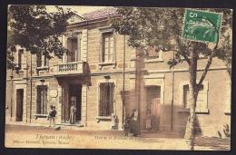 CPA ANCIENNE- FRANCE- THÉZAN (11)- MAIRIE ET BUREAU DE POSTE- TRES GROS PLAN COLORISÉ- ANIMATION- FACTEUR- BÉBÉ - Frankreich