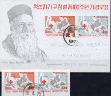 Dunant 100 Jahre Rotes Kreuz 1963 Korea 379/0+Block 181 O 36€ Signet Weltkarte Map Medica Bloc Red Cross Sheet Bf Corea - Korea, South