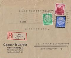 DR R-Brief Mif Minr.515,553,547 Halle/S. 26.9.34 Gel. Nach Österreich - Briefe U. Dokumente