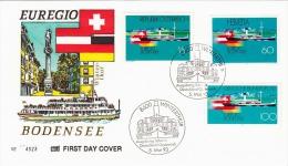 Schweiz/Deutschland/Österreich 1993, Euregio Bodensee Erstag-Brief (Cover) 3 Fach Frankiert, Sonderstempel Winterthur - Schiffe