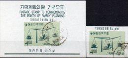 Waage Familien-Plan 1965 Korea 481B + Block 205 O 9€ Wohnung Zahl Kinder Bf M/s Space Bloc Sciences Sheet Of South-Corea - Fête Des Mères