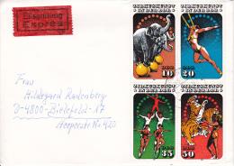 DDR Eil-Brief Mi.-Nr. 2983-2986 (Viererblock) - Stempel Tangerhütte (0634) - Briefe U. Dokumente