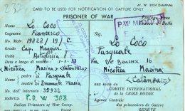CARTOLINA  - PRIGIONIERO DI GUERRA 9-11-1942-WW 2 - 1900-44 Victor Emmanuel III.