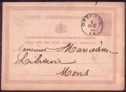BE 1876 - Carte Postale N°6 Obl Départ OSTENDE 4 OCT 76 5S Adressée à 1 LIBRAIRE à MONS Ca MONS(STATION) 5 OCTO 4-M 1876 - Métiers