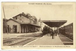 Carte Postale Ancienne Vitrey Vernois - La Gare. Train Arrivant De Belfort - Chemin De Fer - Other Municipalities