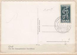 SARRE N° 293 15F FOIRE DE SARREBRUCK  SUR CARTE POSTALE CACHET TEMPORAIRE DU 12.5.1951 - Zone Française