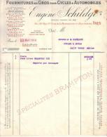 PARIS - FOURNITURES EN GROS POUR CYCLES ET AUTOMOBILES - EUGENE SCHILDGE - 1914 - Cars