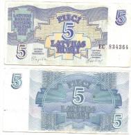 LATVIA Lettland  5 Rubles / Roubles 1992 CIRCULATED - Latvia