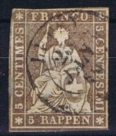 Switserland/Schweiz:  1854 Yv 26 C Paper Moyen, Vert,