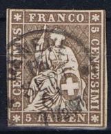 Switserland/Schweiz:  1854 Yv 26 A Paper Jaune, Used