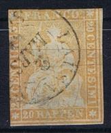 Switserland/Schweiz:  1854 Yv 29 B    Paper Mince  Vert Used