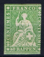 Switserland/Schweiz:  1864 Yv 30 B    Paper Moyen (11 Micron)  Vert , Not Used (*)