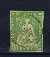 Switserland/Schweiz:  1864 Yv 30     Paper Epais   Vert , Used