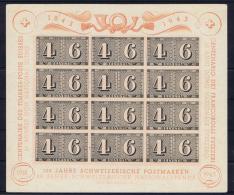 Switserland/Schweiz:  1943 Mi Block 9  100 Jahre Schweizerische Postmarken Not Used (*)