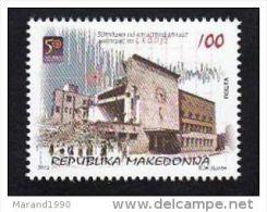 2013, MACEDONIA, 50 YEARS EARTHQUAKE IN SKOPJE, POST OFFICE, RAILWAY STATION, ARHITECTURE, CLOCK - Mazedonien