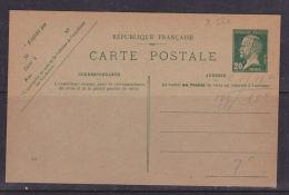 FRANCE ENTIER CARTE POSTALE 20C VERT TYPE PASTEUR NEUF TRES BEAU - Entiers Postaux