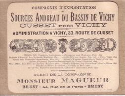 FINISTERE - ALLIER - CARTE DE VISITE OU PUBLICITE - MR MAGUEUR A BREST AGENT DES SOURCES ANDREAU , CUSSET PRES DE VICHY - Visiting Cards