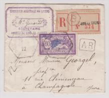 Lette Avec Recommandé 574 De Lons Le Saunier Du 4 2 1922 + AR - Marcophilie (Lettres)