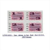 Lithuania Spec Talonas Vasaris 1,2,3,4, February, 1993u Unc - Lituanie