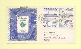 FDC - Canadian Sports - 1957 - Peche Natation Chasse Ski - 1952-.... Règne D'Elizabeth II