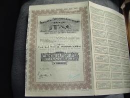 """Action""""Industries Et Transport Automobiles Au Congo""""(Itac)Leoplodville 1928 Très Bon état,avec Tous Les Coupons. - Automobile"""