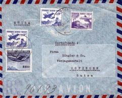 CHILE 1958, 4 Fache Flugpost Frankierung Auf LP-Brief Gelaufen Von Santiago - Chile Nach Zofingen - Schweiz - Chile