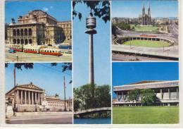 Gruss Aus WIEN - Oper Mit Straßenbahn, Parlament, Donauturm, Stadthalle .... Stempel WIG 64, Sondermarke - Wien