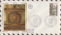 FDC 193  ENVELOPPE 1ER JOUR Soie 1976 ROUEN LE GROS HORLOGE - 1970-1979