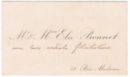 Mr & Mme ELIE BONNET 58 RUE MADAME - Cartes De Visite
